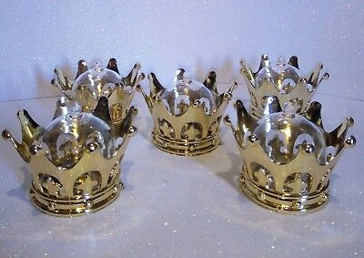 12Pcs Royal Gold Crown Dome Decor Favor Box Keepsake Royal Baby Shower Boy  Girl