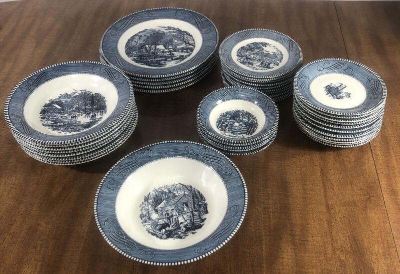 30 pc Currier & Ives Royal China Blue Plates Dish Bowls Variety Early American
