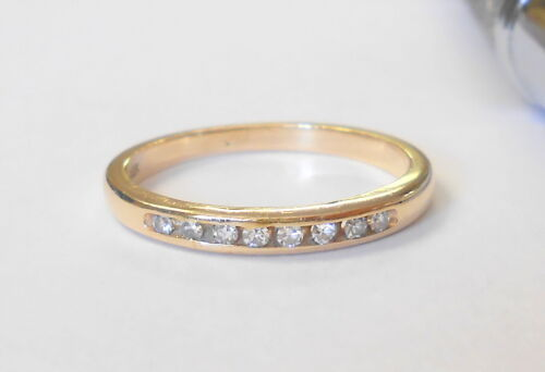 Vintage 8 Diamond VS2 14K Yellow Gold Wedding Band Ring Size 5.5