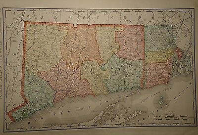 - VINTAGE 1898 CONNECTICUT MAP OLDANTIQUEORIGINAL MAP 15x21 1899/050715