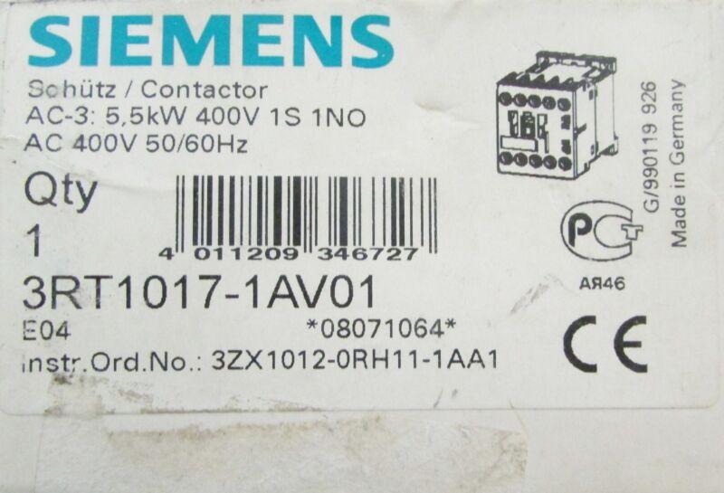 SIEMENS SIRIUS 400V 10E Contactor 3RT1017 1AV01