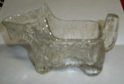Vintage Scottie Dog Glass Open Candy Container/ Creamer #6 NR
