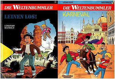 DIE WELTENBUMMLER Carlsen Comic 1 2 LEINEN LOS Karneval HEINER LÜNSTEDT Neufred