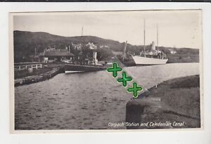 POSTCARD ; CORPACH STATION (RAILWAY ??) AND CALEDONIAN CANAL - INVERNESS-SHIRE.