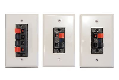 Combo pack of Speaker Terminal Wall Plates Spring Clip for Stereo Home Theater  ()