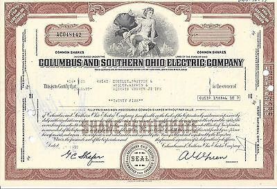 COLUMBUS AND SOUTHERN OHIO ELECTRIC COMPANY....1977 STOCK CERTIFICATE