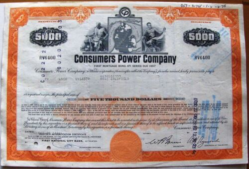 Vintage mortgage $5000 bond Consumers Power Company. State of Michigan