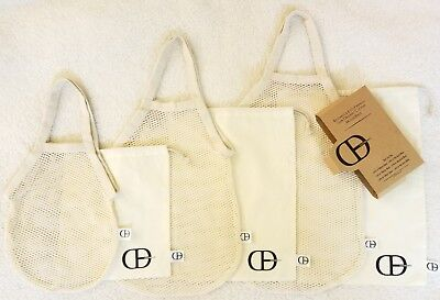 6 piece Set of Reusable Eco-Friendly 100% Cotton Muslin and Mesh Tote bags - Friends 6 Piece Set