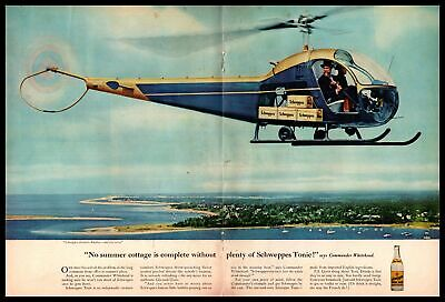 1962 Schweppes Quinine Water Gin & Tonic Mixer Helicopter 2-PagePrint Ad