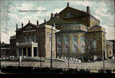 München Bayern Color Postkarte ~1910 gelaufen Partie am Prinzregenten Theater