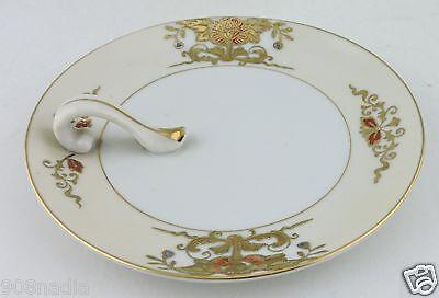VINTAGE Noritake 42200 Lemon Handled Plate Server Enameled Flowers Gold Trimmed