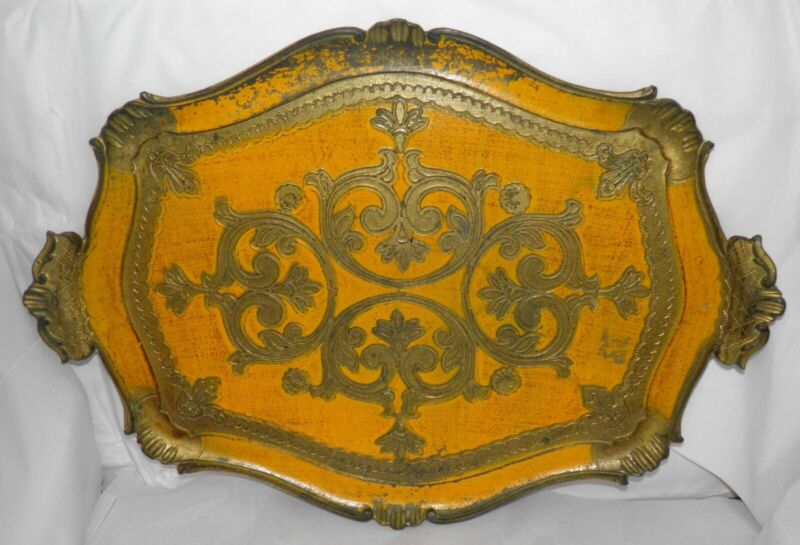 Antique Italian Florentine Wooden Tole Serving Tray Hand Painted Gold & Yellow