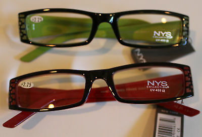 NYS Reading Glasses 2.25 Strength Gorgeous Designs Green and (Nys Glasses)