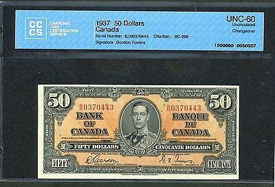 1937 $50 BANK OF CANADA CCCS UNCIRCULATED UNC 60 GORDON TOWERS BC 26B WK BV$1000