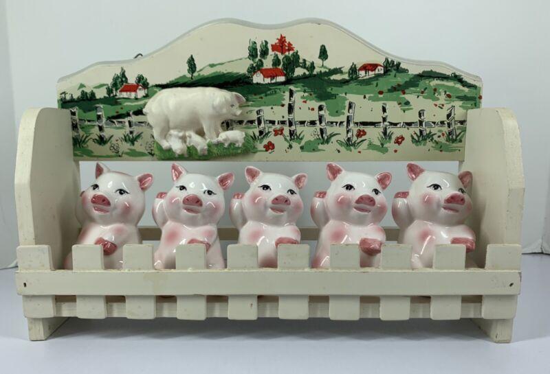 Vintage Spice Jar Little Pigs Set with 5 Jars  and Original Rack.