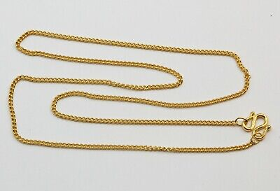 24K Solid Yellow Gold Fine Cuban Link Chain Necklace 4 Grams
