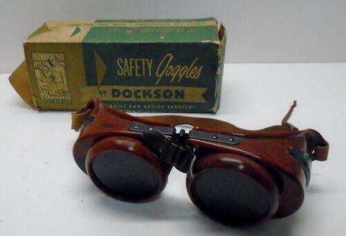 Vintage Antique Bakelite Goggles Safety Glasses Old Rockabilly Steampunk DOCKSON