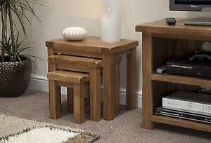 Brooklyn solid oak furniture nest of three coffee tables