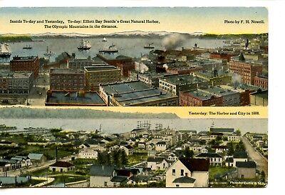"""Then & """"Now"""" Harbor View-City Buildings-Seattle-Washington-Vintage Postcard"""