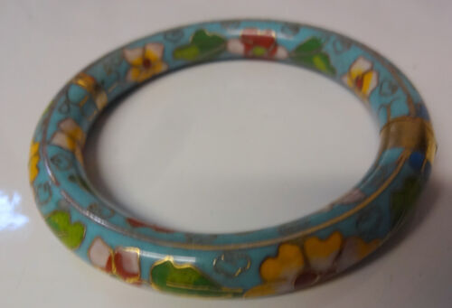 Antique Chinese Silver Vermeil Enamel Flower Cloisonne Bangle Bracelet RARE