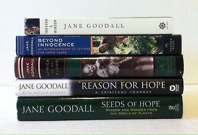 Lot 4 Jane Goodall Books Through A Window  Seeds Of  Reason For Hope  2Pb