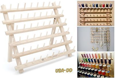 Thread Rack 60 Spools Sewing Embroidery Storage Wooden Organizer Cones Holder