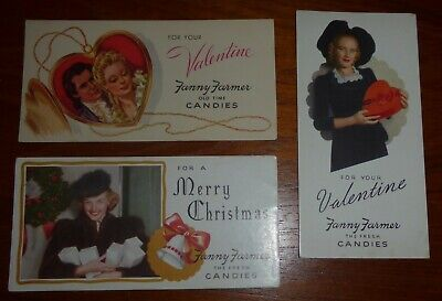 Lot of 3 Vintage Ink Blotters – Fanny Farmer - Valentine & Christmas