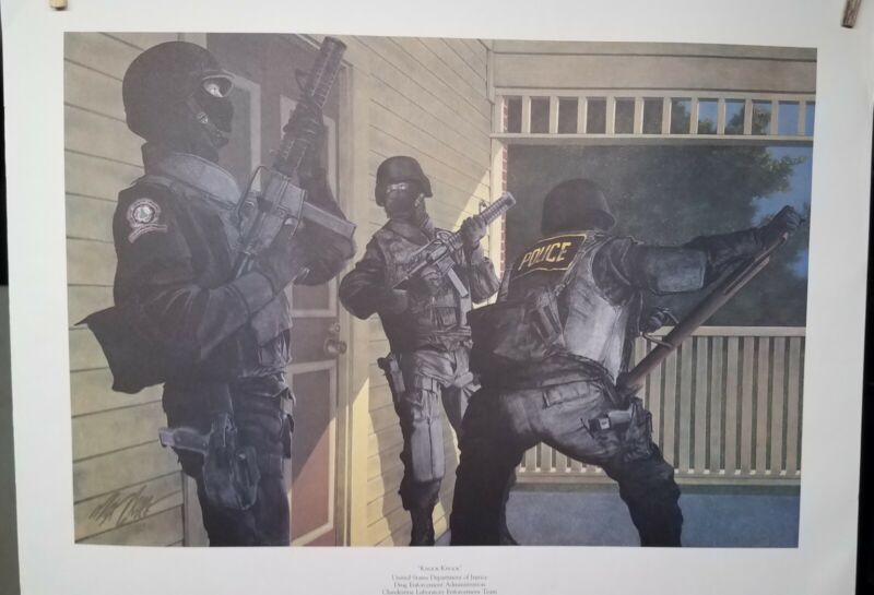 """Knock Knock"" DEA..CLE Team police print by Max Crace 1989..very good condition"