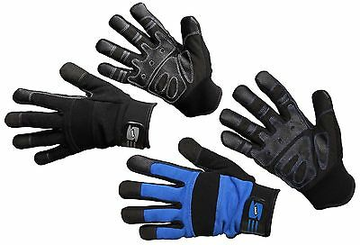 Mechanics Work Gloves Synthetic Leather Pvc Grip Washable Winter Lined Fleece