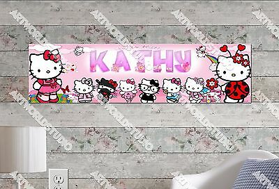 Personalized Hello Kitty (Personalized/Customized Hello Kitty #2 Name Poster Wall Art Decoration)