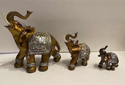 Feng Shui Set of 7 ~ Elephant Family Statues Wealth Lucky Figurines Home
