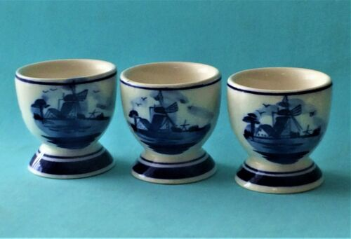 Set of 3 Porcelain Hand Painted Delft Blue Windmill Egg Cups