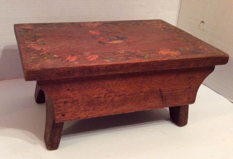 RARE Early Antique PA Dutch Tole Painted Wooden Foot Stool Hand Painted