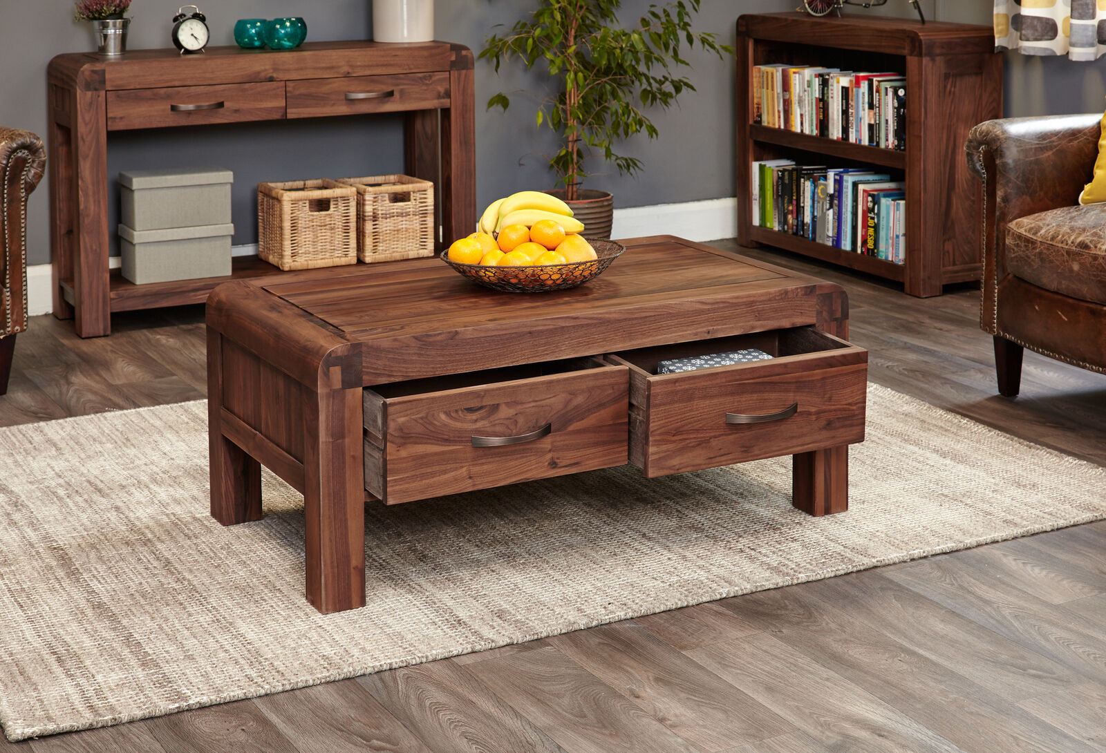 Details About Shiro Premium Dark Wood Coffee Table With 2 Drawers Modern Solid Walnut