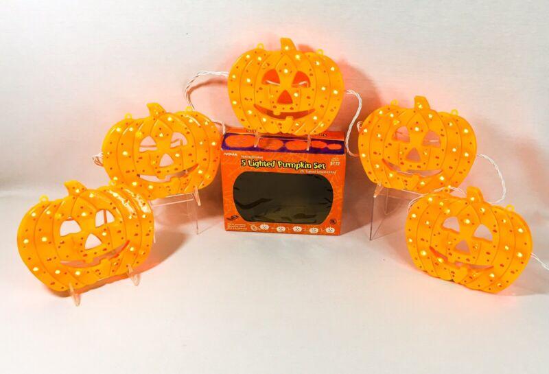 Halloween Pumpkin 8 Inch 5 Light Set Indoor Outdoor 7 Ft Lighted Length