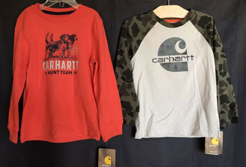 CARHARTT Graphic Shirt Lot x 2 - Long Sleeve Beige Camo & Orange Tops Boys Sz 3T