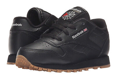 Reebok Classic Leather Black, Gum Toddler Kids Sneakers Tennis Shoes V69625