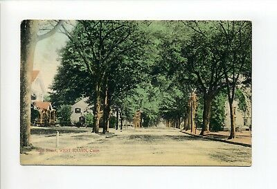 West Haven Conn CT, Main Street view, homes, antique postcard