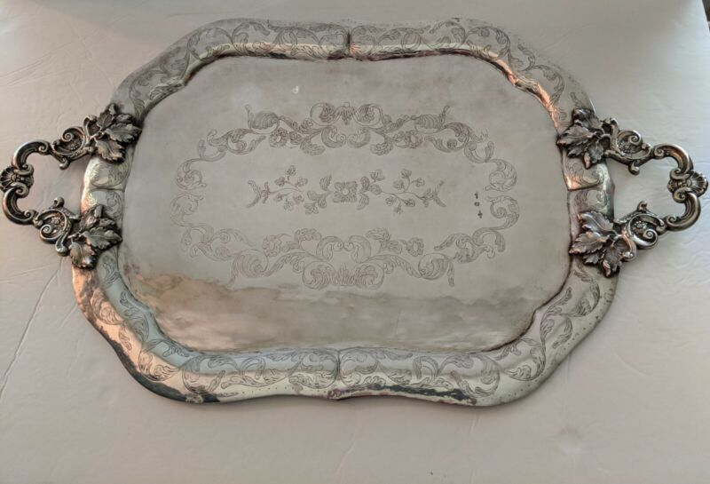 """STERLING SILVER Lobed 1860s Spanish 24"""" Tray Ornate Handles Hand Chased 1982 gr"""