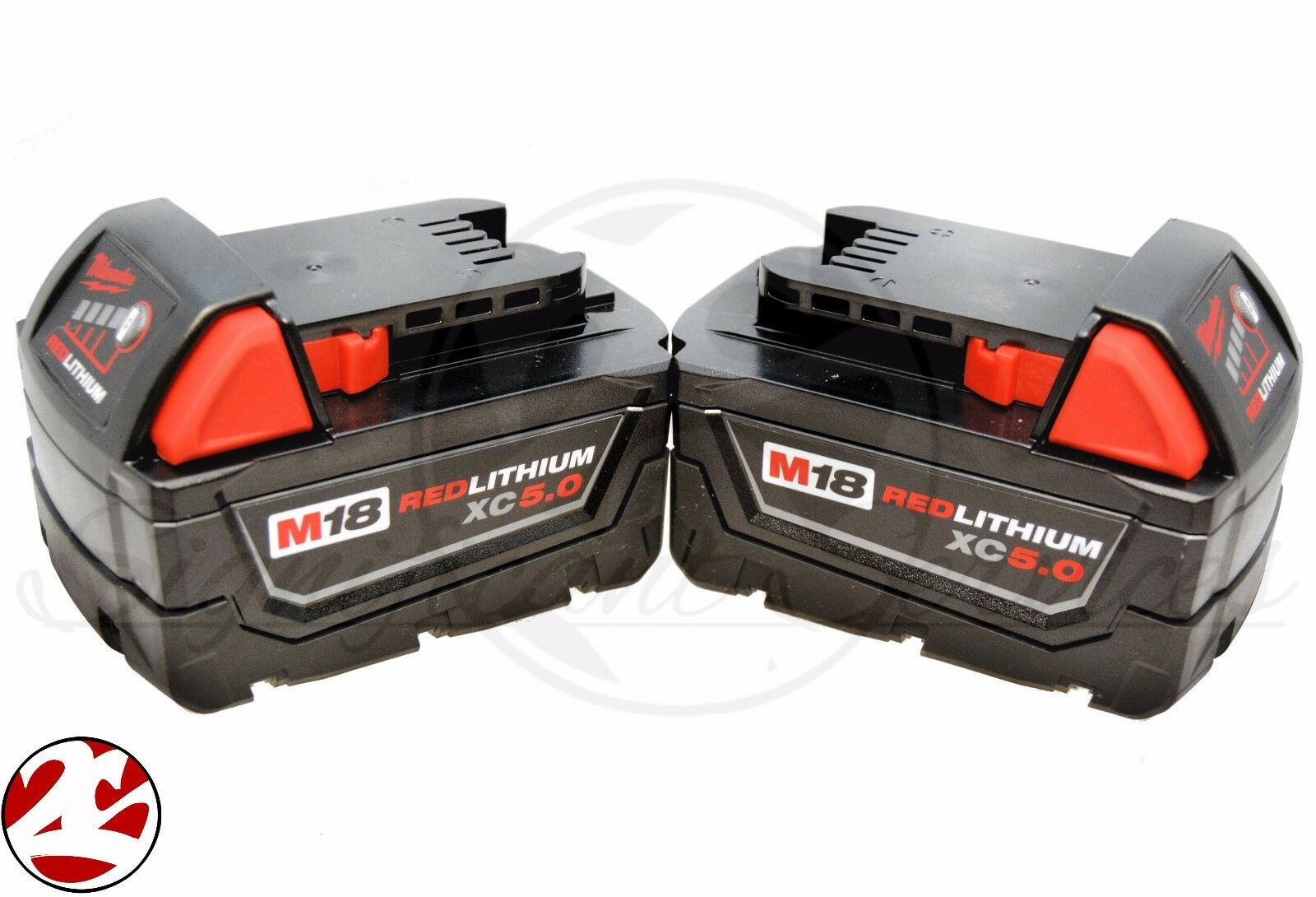 (Qty 2) Milwaukee M18 Red Lithium XC 5.0 AH Extended Capacity Battery 48-11-1852 2