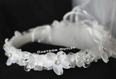 GIRLS WHITE VEIL FIRST COMMUNION FLOWER BEADS RHINESTONE HEADPIECE TULLE NEW](First Communion Headpieces)
