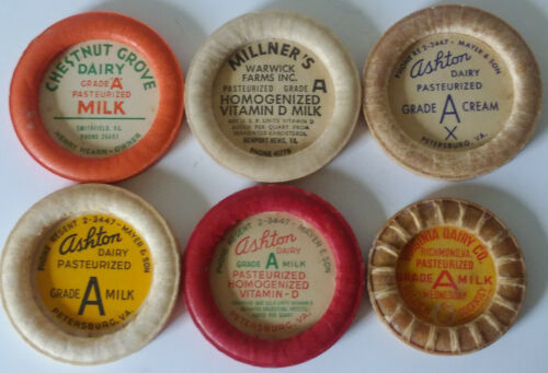 6 VINTAGE MILK BOTTLE CAPS FROM 4 DIFFERENT VIRGINIA DAIRIES