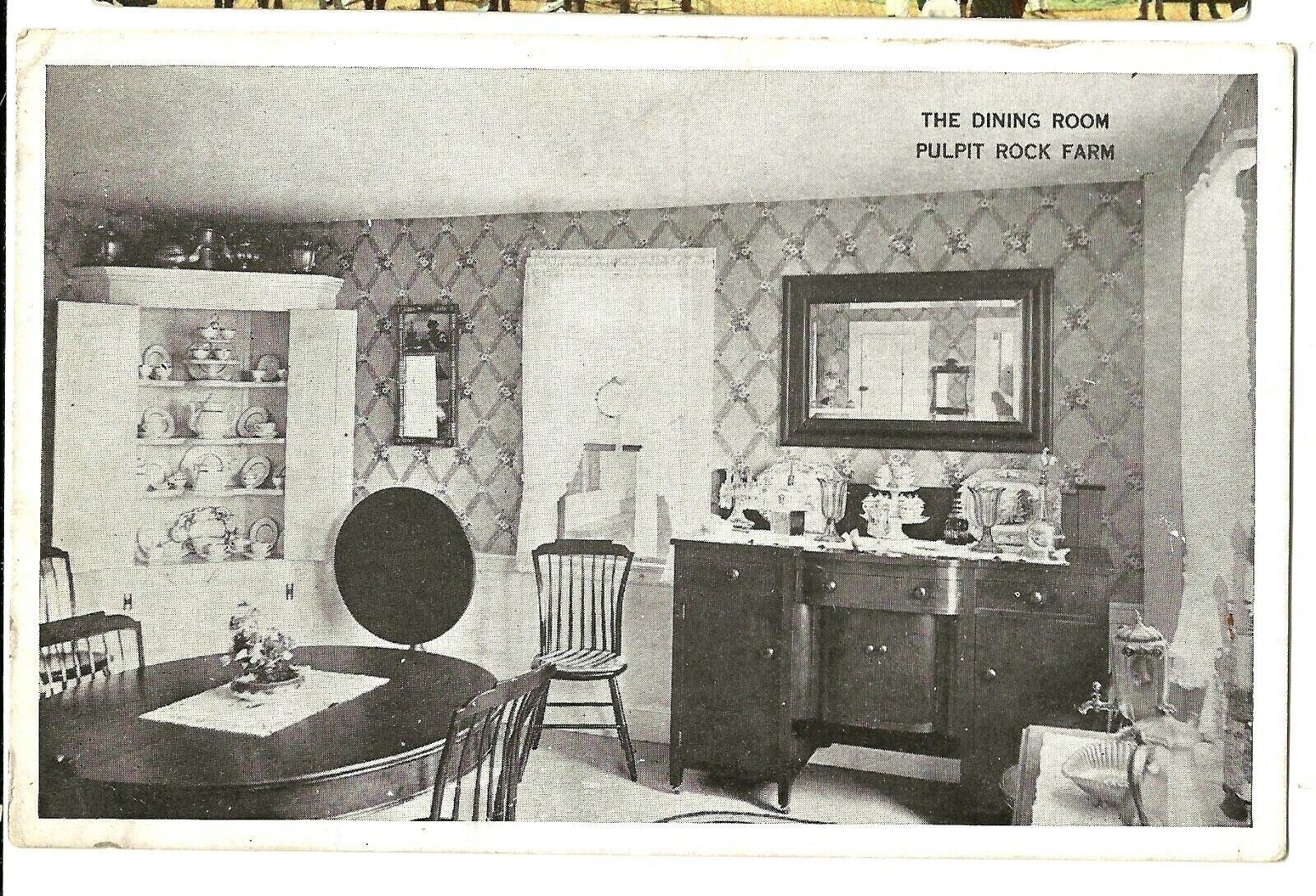223 C1930 Postcard Dining Room At Pulpit Rock Farm Monson Ma Mass  - $6.00