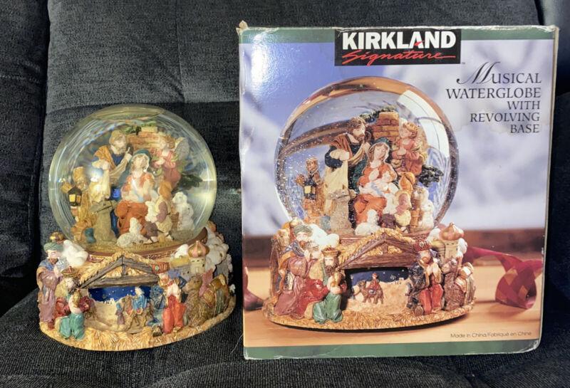 Kirkland NATIVITY Musical Water Globe w/ Revolving Base Plays Joy to the World