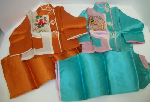 2 Sets Vintage Asian Oriental Embroidered Satin Pajamas Baby Child Toddler Doll