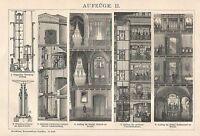 B0106 Ascensori - Stampa Antica - 1901 Engraving -  - ebay.it