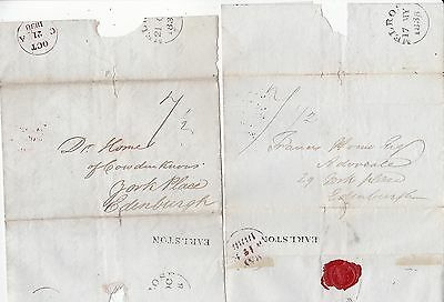 1838 x 2 EARLSTON PMK LETTERS JOHN SPENCE TO FRANCIS HORNE YORK PLACE EDINBURGH