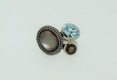 Michael Dawkins Sterling Silver Abalone Doublet Blue Topaz Smoky Quartz Ring 7