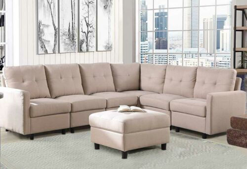 7-Piece Modular Sectional Sofa Modern Living Room Linen Couch With Back Cushion  4