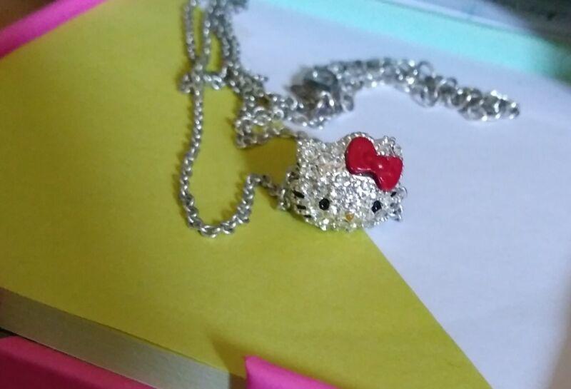 Authentic Sanrio Hello Kitty rhinstone head necklace *ADORABLE*